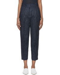 3.1 Phillip Lim Navy Linen Pinstripe Trousers