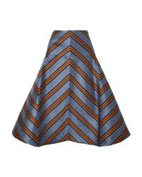 Fendi Satin Jacquard Midi Skirt