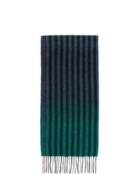 Paul Smith Navy And Multicolor Wool Sunset Stripes Scarf