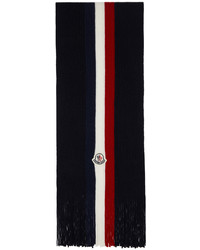 Moncler Navy Wool Stripes Scarf