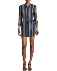 Navy Vertical Striped Shirtdress