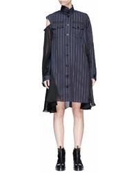 Sacai Asymmetric Panelled Pinstripe Shirt Dress