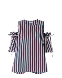 P.A.R.O.S.H. Striped Cold Shoulder Blouse