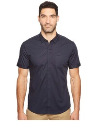 Navy Vertical Striped Short Sleeve Shirt