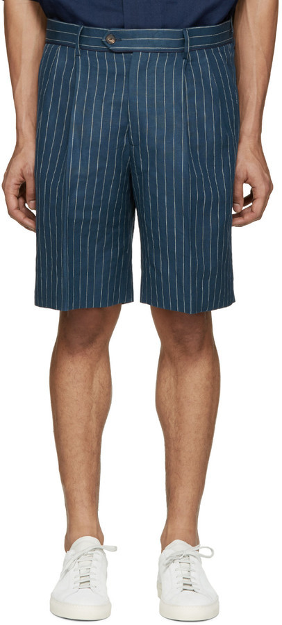 UMIT BENAN Blue Linen Pinstripe Shorts | Where to buy & how to wear