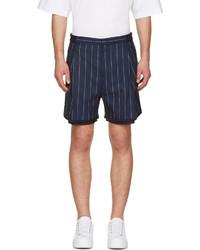 Juunj Navy Pinstriped Layered Shorts