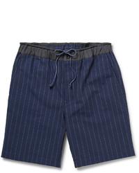 Sacai Striped Cotton And Linen Blend Shorts