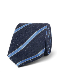Canali 7cm Striped Woven Silk Tie