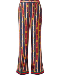 Gucci Printed Silk Twill Wide Leg Pants