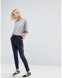 Navy Vertical Striped Skinny Pants