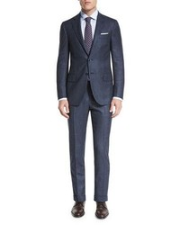 Chalk stripe two piece suit petrol blue medium 843437