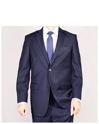 Giorgio Fiorelli Navy Blue Striped Two Button Suit