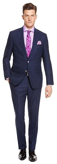 81a08d4130 T Hixongrey Slim Fit Italian Virgin Wool Pinstriped Suit Navy