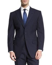 Tom Ford Oconnor Base Peak Lapel Pinstripe Two Piece Suit Navy