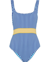 Diane von Furstenberg Belted Striped Swimsuit Azure