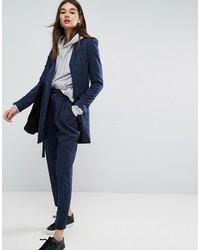 Pin stripe paperbag waisted tapered pant medium 3727750