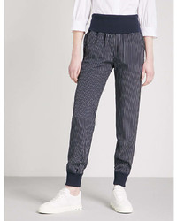 Theory Striped Relaxed Fit Silk Trousers