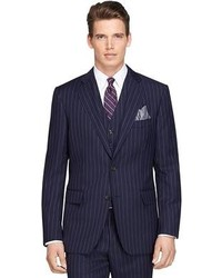 Navy Vertical Striped Three Piece Suit