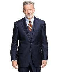 Brooks Brothers Madison Fit Saxxon Wool Alternating Stripe Three Piece 1818 Suit