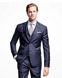Brooks Brothers Milano Fit Three Piece Stripe 1818 Suit