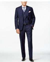 Ryan Seacrest Distinction Slim Fit Blue Flannel Chalk Stripe Vested Suit Only At Macys
