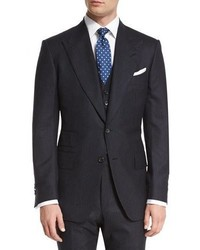 Tom Ford Windsor Base Extra Light Flannel Pinstripe Three Piece Suit Navy