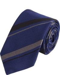 Alexander Olch Diagonal Stripe Jacquard Neck Tie Blue