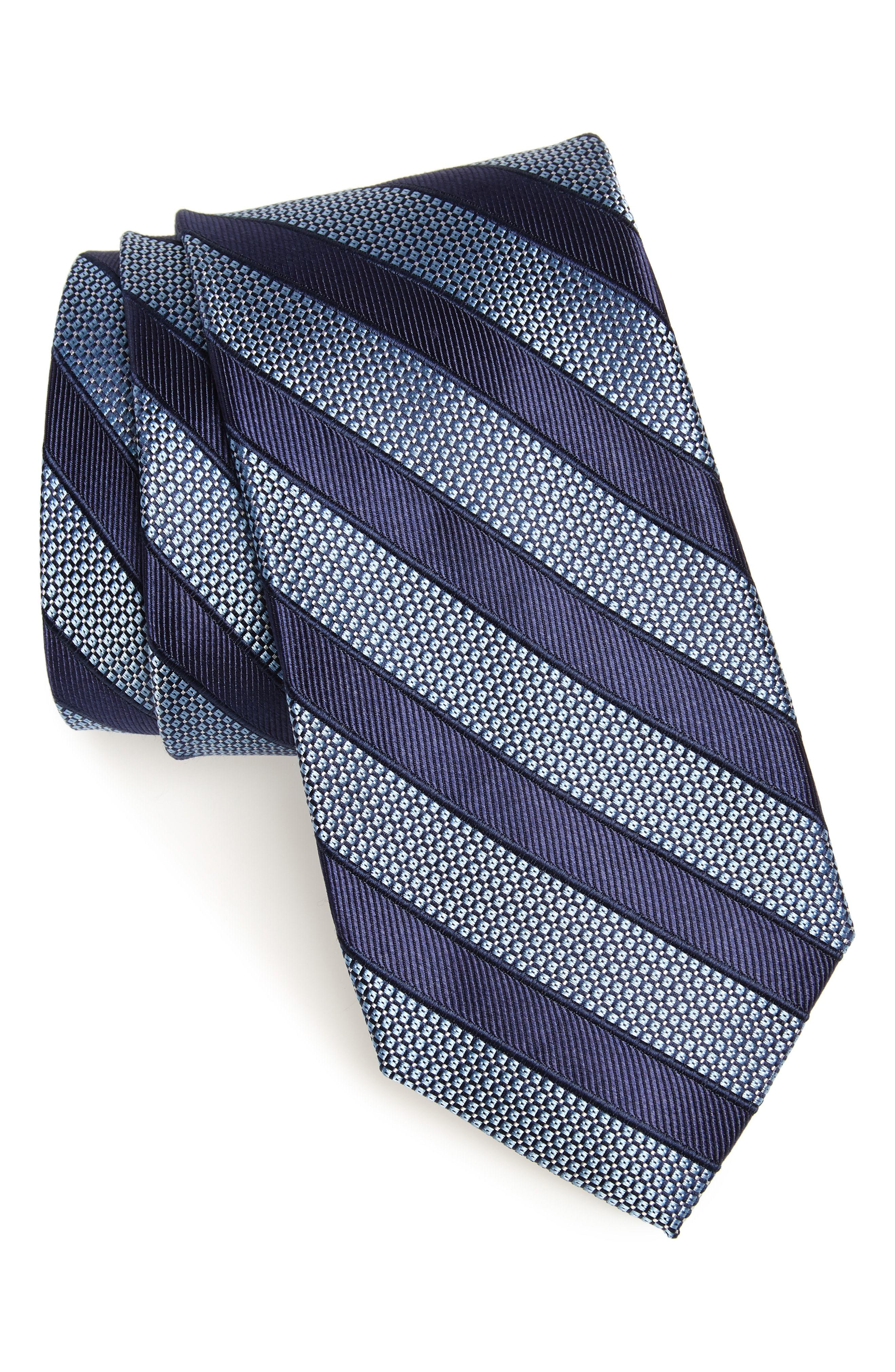 Nordstrom Men's Shop Crawford Stripe Silk Cotton Tie