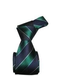 Dmitry Green Striped Italian Silk Tie