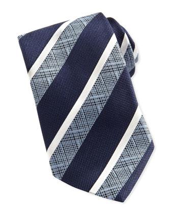 Ermenegildo Zegna Wide Crosshatch Striped Tie Navy
