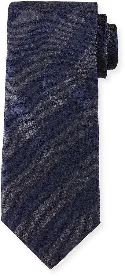 Giorgio Armani Iridescent Striped Silk Tie Navy