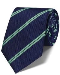 Charles Tyrwhitt Navy And Green Silk Classic Double Stripe Tie