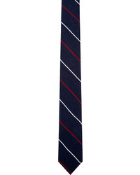 Thom Browne Navy Cashmere Striped Tie
