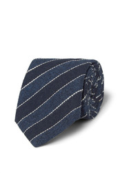 Brunello Cucinelli Navy Striped Cotton And Linen Blend Tie