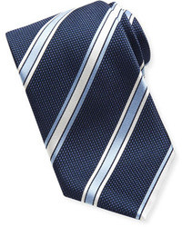 Brioni Satin Grenadine Striped Tie Navy
