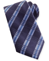 Brioni Striped Plaid Woven Tie Navy