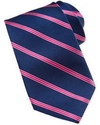 Neiman Marcus Striped Silk Tie Navyfuchsia