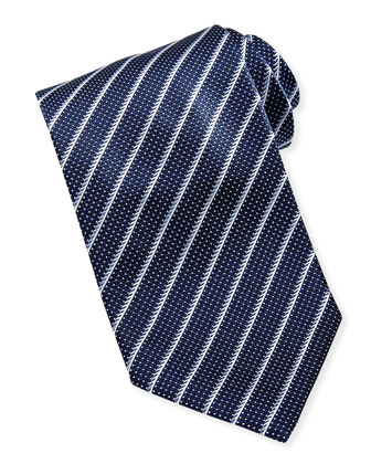 Brioni Striped Textured Silk Tie Navy