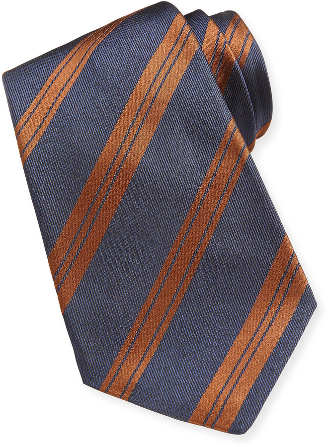 Kiton Striped Woven Tie Blue