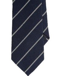 Uman Dash Stripe Grenadine Neck Tie Blue
