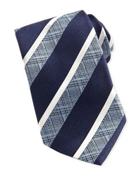 Ermenegildo Zegna Wide Crosshatch Striped Tie Navy