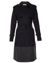 Double breasted pinstriped trench coat medium 721156