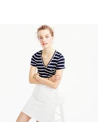 8f9229e36dac7d J.Crew Linen V Neck Pocket T Shirt In Stripe, $36 | J.Crew ...