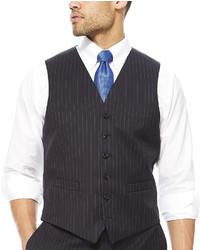Stafford Stafford Wool Stripe Suit Vest Classic Fit