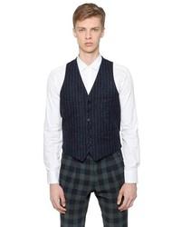 Wool Blend Pinstriped Vest