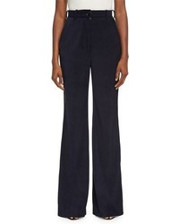 Tessel pinstripe corduroy high waist flare pants navy medium 3729859