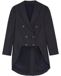 Brunello Cucinelli Double Breasted Embellished Wool Blend Blazer Midnight Blue