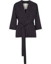 Acne Studios Jada Belted Pinstriped Wool Blazer Navy
