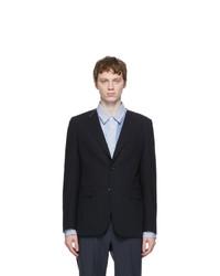 Comme des Garcons Homme Deux Navy Wool Twisted Stripe Blazer