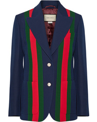 Gucci Striped Wool And Crepe Blazer